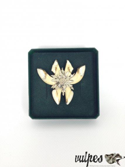 Poľovnícky šperk na pripnutie (diviače zuby, striebro), č.v.:003